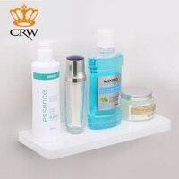CRW Single Tier Shower Shelf Wall Mounted White ABS & Stainless Steel Chrome Bathroom Shelf F30003WH