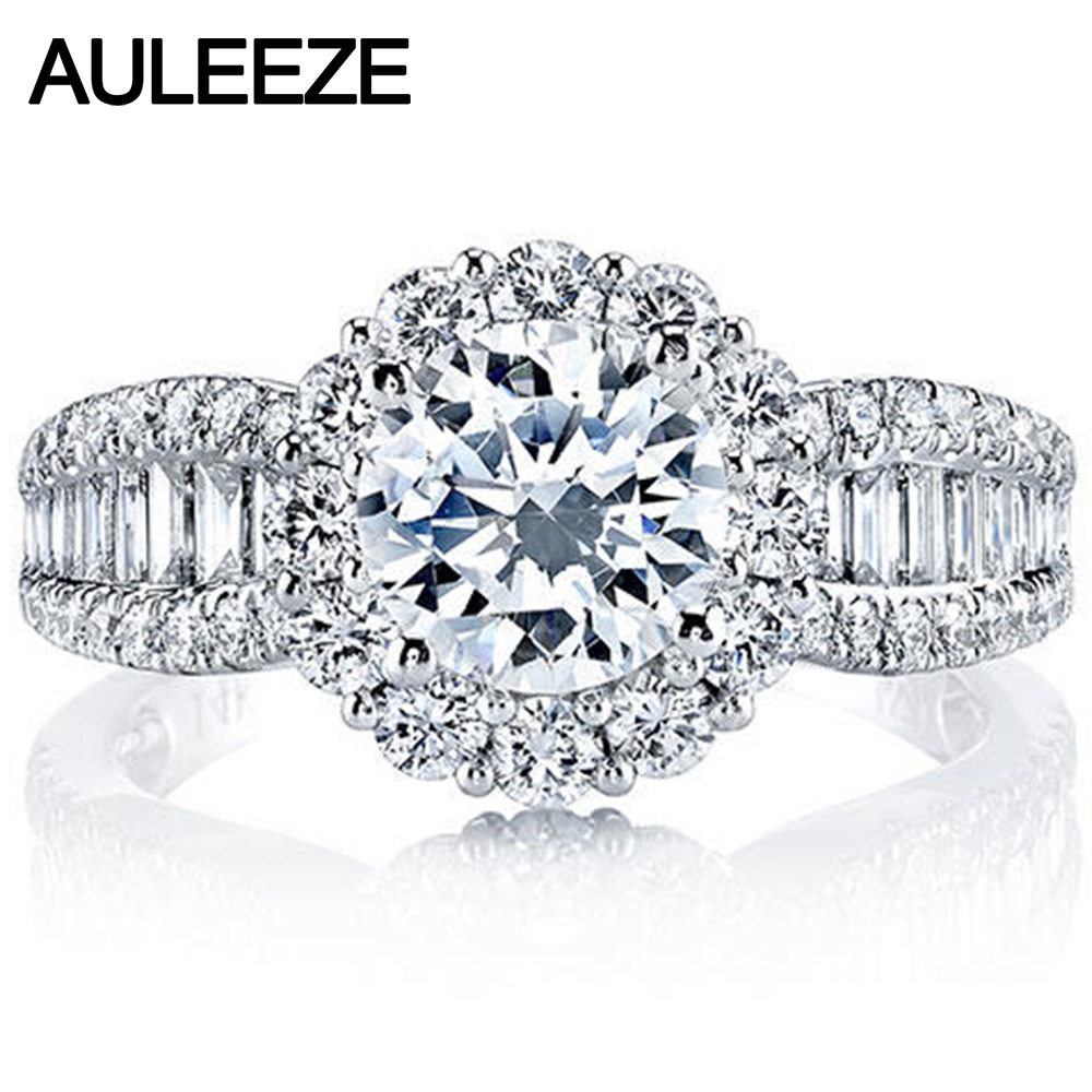 Floral Motif Cluster Halo 1.25CT Round Cut Real Moissanites 14k 585 White Gold Ring In Group Lab Grown Diamond Fine Jewelry