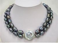 Mabe Clasp 2Rows 10 11mm Rice Black Natural Pearl Necklace