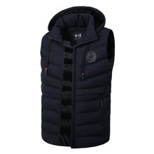 2018 New Mes's Vests Fashion Autumn Winter Sleeveless Jacket for Men Warm Hooded Male Work Vests Casual Brand Waistcoat Size 3XL