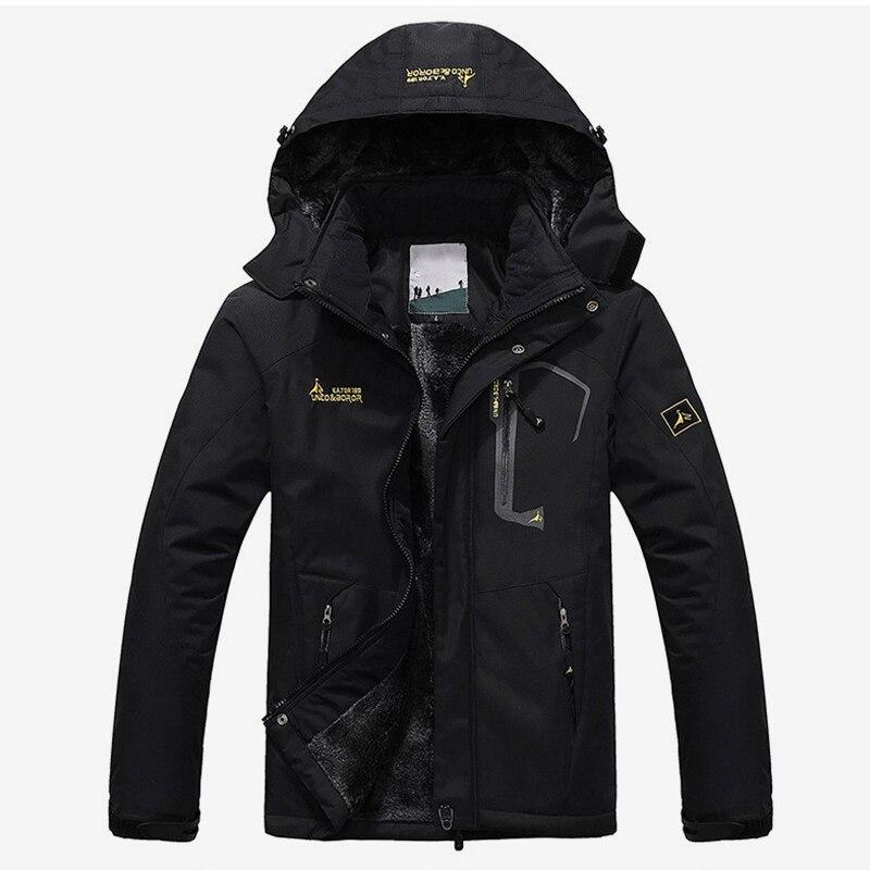 De invierno de terciopelo con capucha de los hombres chaqueta Parka chaqueta ejército negro grueso verde abrigo a prueba de viento de los hombres 2018 cálido hombre cremallera parkas 6XL