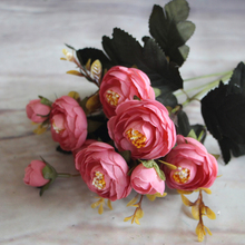 Artificial Flowers 6 Branches Fall Vivid Peony Fake Leaf Silk Flower Wedding Decoration Home Party Christmas Ornament E0