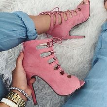 Pale Pink Suede Women Sandal High Heels Open Toe Lace-up Cross-tied Stilettos Shoes Women Size 15 Womens Shoes Pumps Sexy