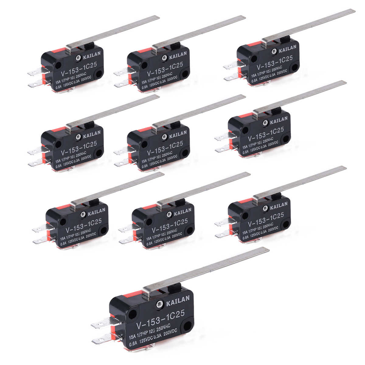10pcs Lot V 153 1c25 Limit Switches Long Straight Hinge Lever Type Spdt Micro Switch Mayitr For Electronic Measuring Appliance Limit Switch Limit Switch Longlimit Switches Types Aliexpress