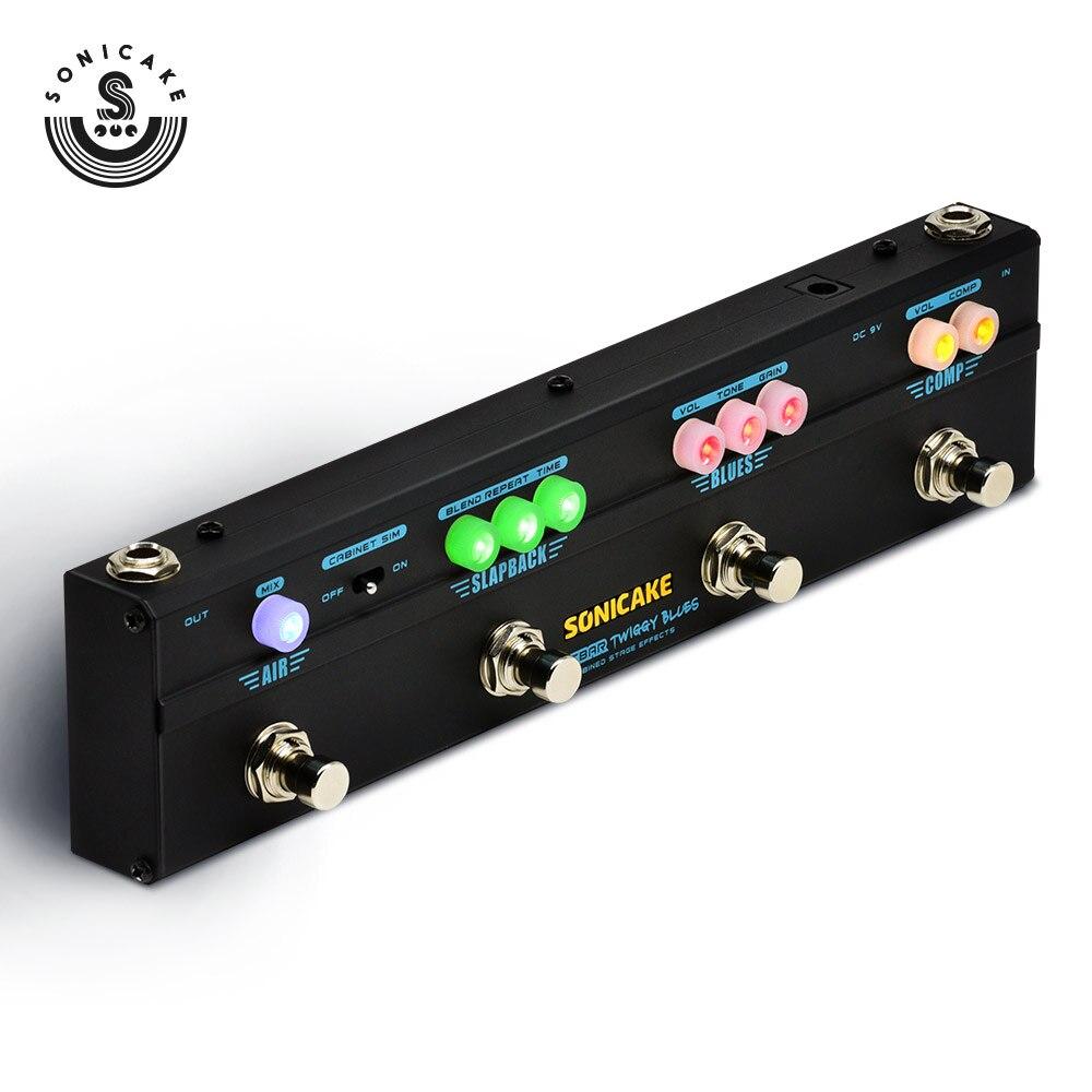 Sonicake Multi effet pédale de guitare Twiggy Blues 4 en 1 effet combiné compresseur Overdrive retard Reverb 4 Type Plug QCE-20