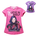 fashion Descendants girl T-shirt  cotton purple&red short sleeves T-shirt for 7-16yrs girl fashion female kids T-shirt clothes