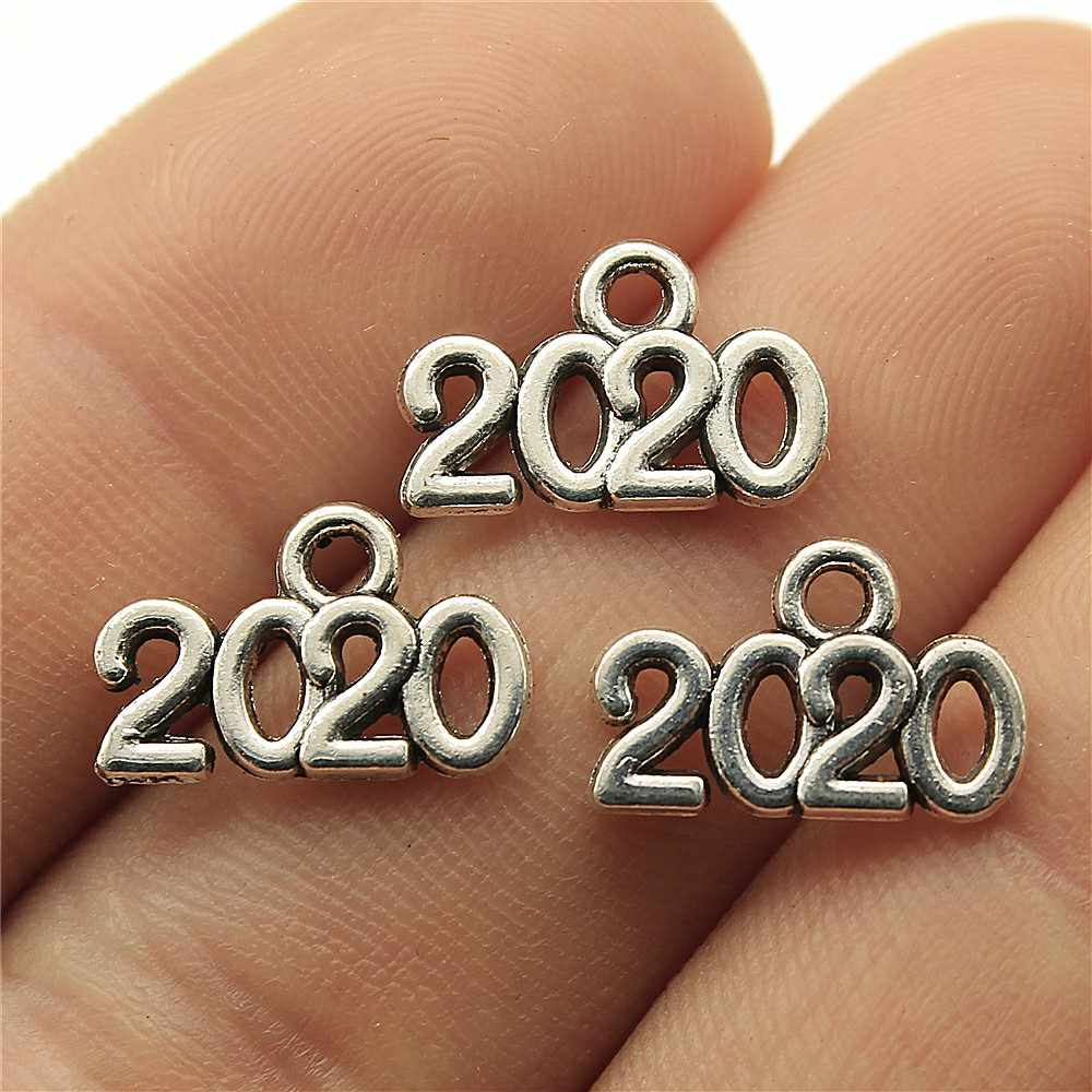 Charms Year 2020 Diy Jewelry Findings 50pcs/lot Antique Silver Plated 0.6x0.4 inch (14x9mm) Number 2020 Charms
