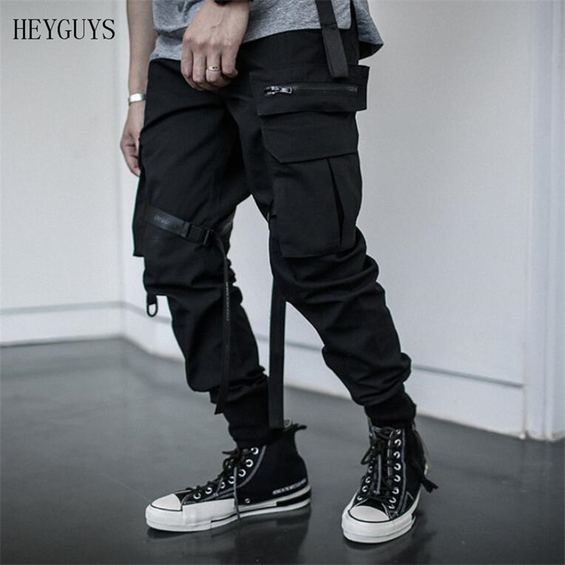 HEYGUYS Joggers Pants Trousers Elastic-Waist Streetwear Multi-Pocket Men's Camouflage