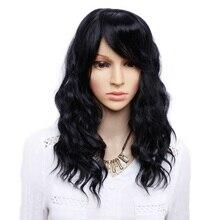 Amir perruque synthétique noire avec frange, perruque Bob longue noire et brune pour femmes, perruque ondulée naturelle