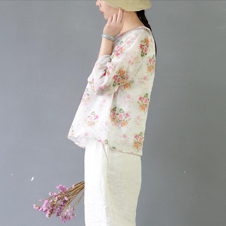Camisa Mujeres Femenina De Verano Salvaje La Vestidos Literaria Impresión Delgada Primavera Casual Mujer 18 Pequeña Beige Flor U1x4q8ng