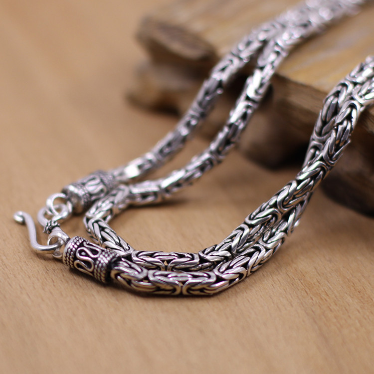 Thai goods wholesale silver S925 silver Thai handmade antique silver 3mm diameter for men and women necklace 55cm (22 inches)Thai goods wholesale silver S925 silver Thai handmade antique silver 3mm diameter for men and women necklace 55cm (22 inches)