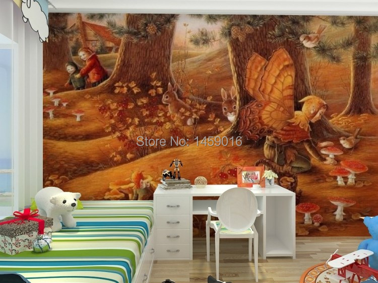 3d wall mural living bedding kid 39 s room tv setting wall for Fairy tale mural