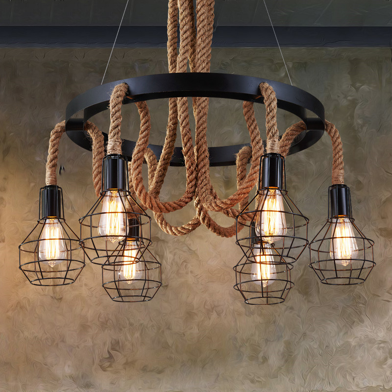 Retro Loft pendant lamp 6 heads study office dining room bar corridor restaurant pub cafe chandelier hanging light headlight retro cafe bar long spider lamp loft light industrial creative office the heavenly maids scatter blossoms chandelier