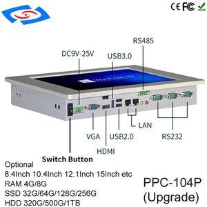 "Image 3 - לוח מגע מחשב 3G מודול intel Quad Core Tablet PC כרטיס ה SIM חריץ עם Bluetooth IPC עבור 10.4"" windows 10 התעשייתי Tablet PC"