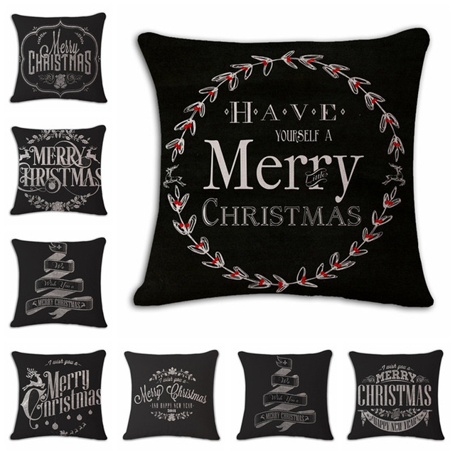 black merry christmas decorative throw pillow cover case christmas decoration cotton linen for sofa home party - Christmas Decorative Pillow Covers