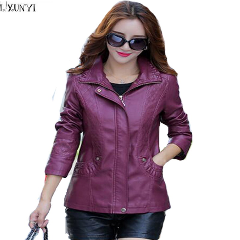 LXUNYI Women   leather   jacket Hooded Autumn 2019 Korean Casual Womens   leather   jackets And Coats Plus Size Outerwear 3XL 4XL 5XL