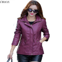 LXUNYI Women Leather Jacket Hooded Autumn 2017 Korean Casual Womens Leather Jackets And Coats Plus Size