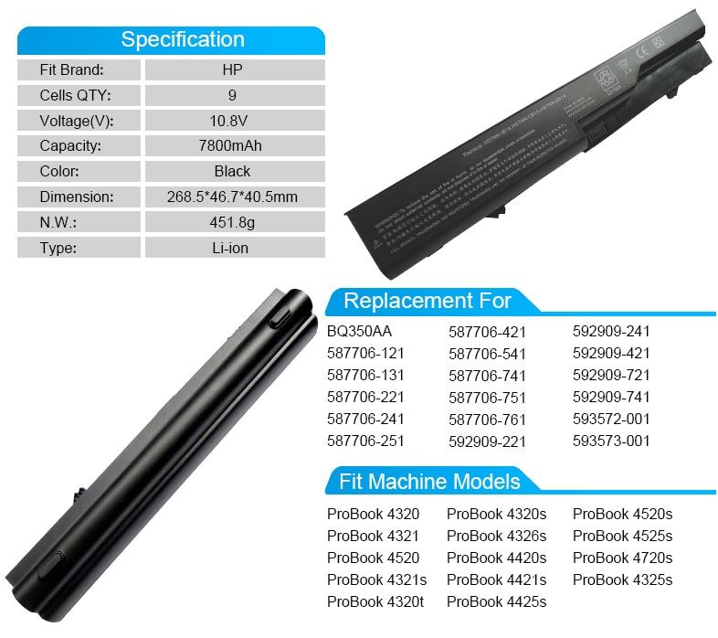 9 ячеек Аккумулятор для ноутбука HP ProBook 4425 s 4421 s 4520 s 4320 4321 4320 s BQ350AA 592909-741 593572-001 587706-121 593573-001 аккумулятор большой емкости
