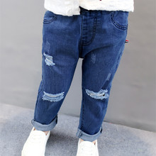 DFXD Spring 2018 Children Broken Hole Pants New Blue/Black Long Skinny Ripped Girls Jeans Fashion Toddler Kids Denim Pants 2-7Y girls jeans small pants 2018 new children s korean version self cultivation fashion broken holes pencil pants
