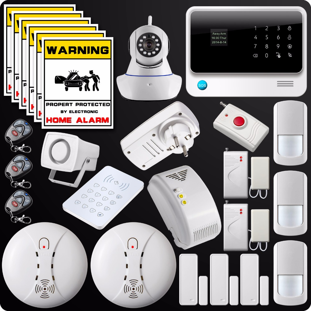 2.4G WiFi GSM GPRS SMS Alarm System Wireless Home House Security System Wifi Camera Gas Detector Panic Button Water Leakage 16 ports 3g sms modem bulk sms sending 3g modem pool sim5360 new module bulk sms sending device