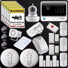 2,4G WiFi GSM GPRS SMS Alarmanlage Wireless Home Haus Sicherheitssystem Wifi Kamera Gas Detektor Panic Button Wasser leckage