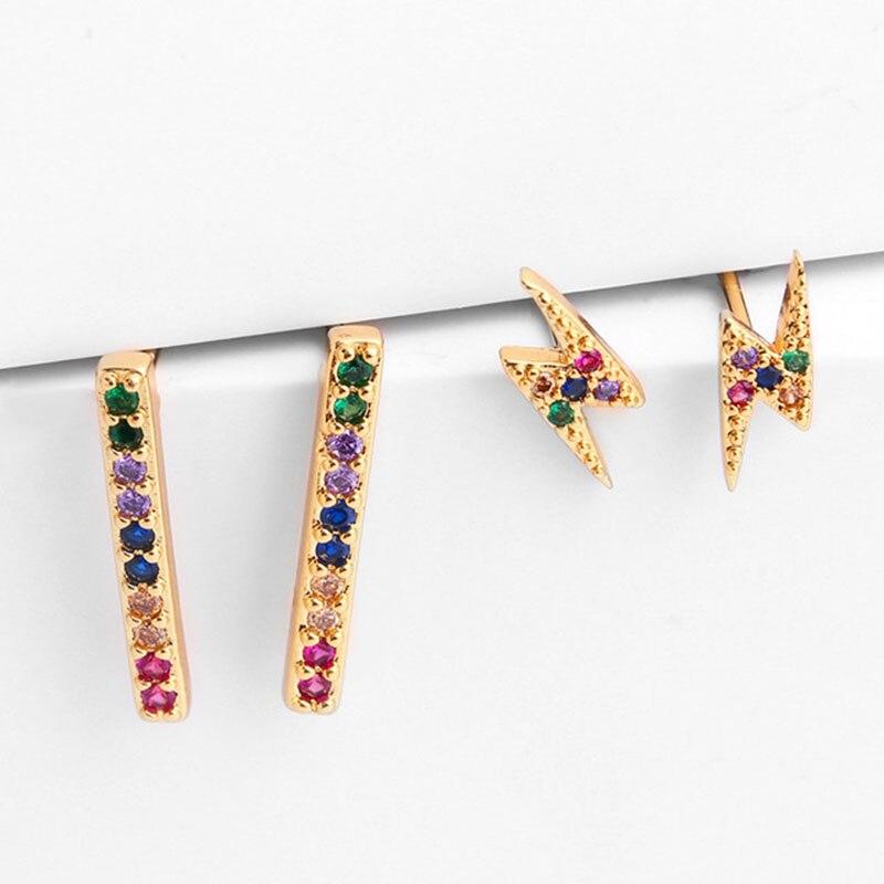 Colorful Cubic Zirconia Women Stud Earring Lighting Strip Earrings Gold Color Luxury Pave Minimalist Korean Jewelry Aretes MZ016