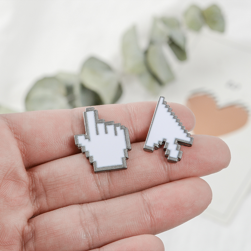 Cursor Enamel Pin White Window icon Arrow Hand Cursor Lapel pin Brooch Computer Cursor Brooches Badges for friends women men in Brooches from Jewelry Accessories