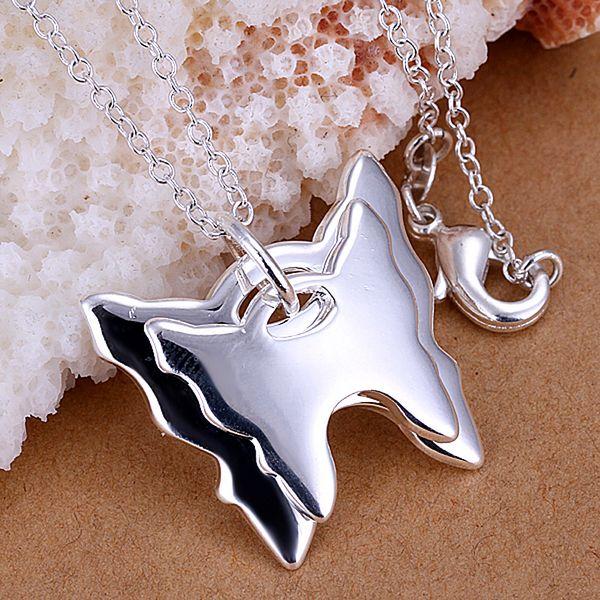 88f3e0a3915c7 P095 2 جميلة الفضة مطلي المعلقات للنساء بالجملة شحن مجاني سحر عيد الهدايا  الأزياء والمجوهرات مزدوجة فراشة