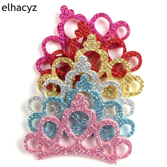 6pcs Lot 2018 New Pretty Glitter Felt Princess Handmade Diy Crown