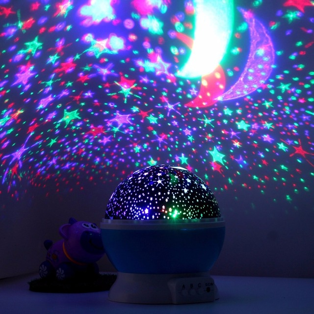 Holigoo Romantic Rotating Spin Night Light Projector Sky Star Moon Master USB Lamp Led Projection For Kids Baby Sleep Lighting