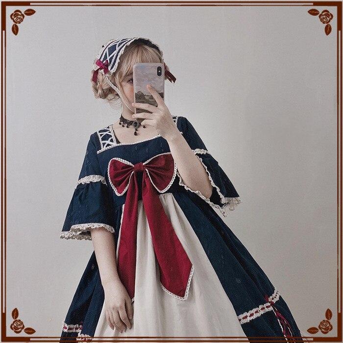 اليابان لوليتا نمط اللباس الحلو القوس مضيئة كم قصيرة تصميم الأميرة فساتين كبيرة الحجم لطيف مربع طوق القوطية لوليتا المرجع-في فساتين من ملابس نسائية على  مجموعة 2