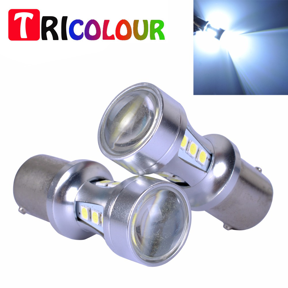 TRICOLOUR 4x 1156 1157 7440 7443 3030 18smd Canbus Error Free SMD White LED Bulbs S25 P21W P21/5W Brake Light #TF83 2pcs canbus error free 55 smd 3030 7440 w21w led backup reverse light bulbs for 2010 2014 volkswagen mk6 golf or gti 6000k whit