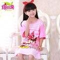 2015 pijamas crianças dos desenhos animados camisola de algodão princesa pijamas meninas camisola padrões de manga curta camisola de verão