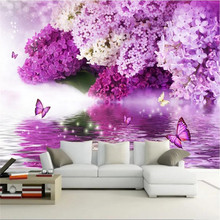 Custom wallpaper purple flower hydrology reflection butterfly background wall decoration painting waterproof material