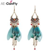 Фотография AE-CANFLY 2017 Long Tassel Fashion Feather Style Ethnic Boho Big Dangle Statement Earring Wedding Earrings Accessories