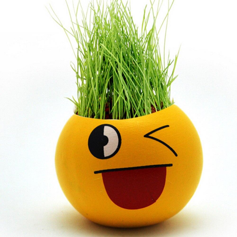 1 St Planter Gras Groeit Zaad Hoofd Plantenbakken Keramische Pop Miniatuur Planten Heads Desktop Decor Vaas Cartoon Uitdrukking