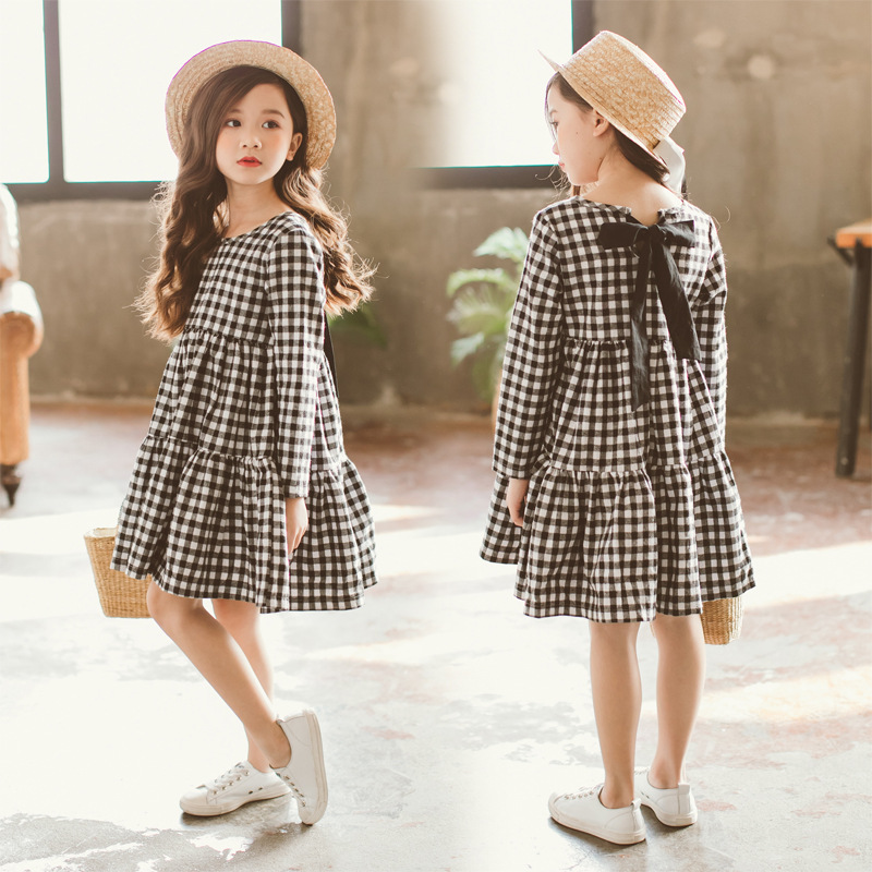 Image 2 - Brand 2019 Autumn New Girls Dresses Children Cotton Dress Kids Plaid Dress Bow Baby Girls' Cotton Dress Toddler Clothes,#2787-in Dresses from Mother & Kids
