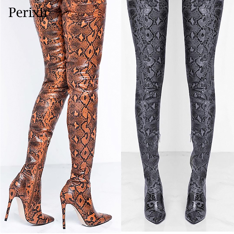 Perixir Thigh High Over the Knee Boots for Women Shoes Snakeskin Pointed Toe Super Thin High Heels Long Boots Bottine Femme