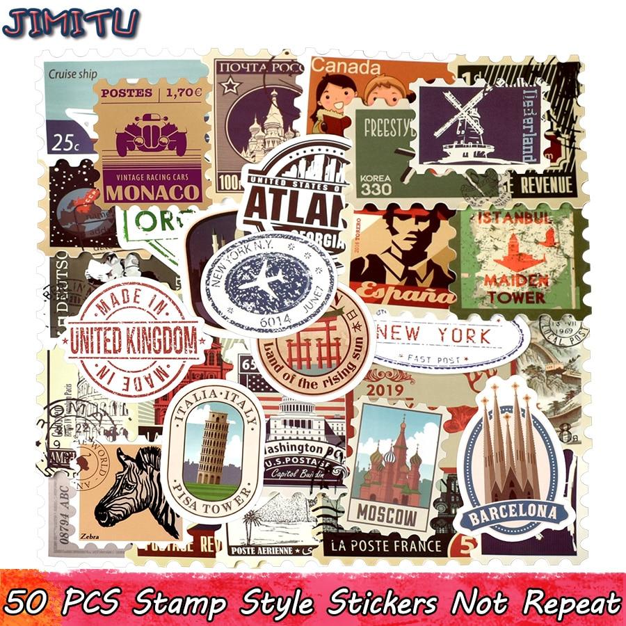 50 PCS Retro Stamp Sticker Travel Historical Building Postmark Postage Stickers For DIY Luggage Laptop Travel Case Guitar Fridge(China)