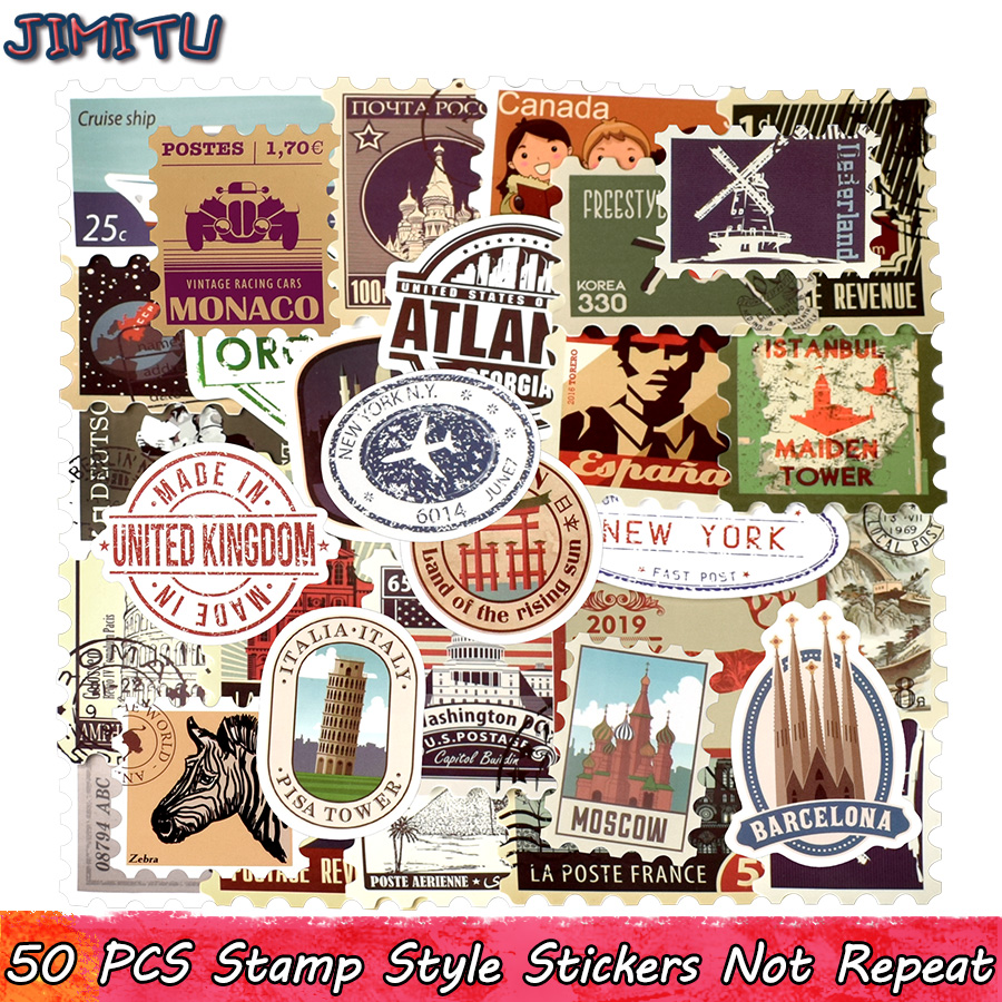 50 PCS Retro Stamp Sticker Travel Historical Building Postmark Postage Stickers For DIY Luggage Laptop Travel Case Guitar Fridge