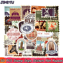 50 PCS Retro Stamp Sticker Travel Historical Building Postmark Postage Stickers for DIY Luggage Laptop Travel Case Guitar Fridge china post stamp 2015 4 24 solar terms spring fdc frist day cover postage stamp collecting postage stamps souvenir sheet