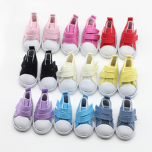 One pair Assorted 9 Color 5cm Canvas Shoes For BJD Doll Fashion Mini Toy Shoes Sneaker