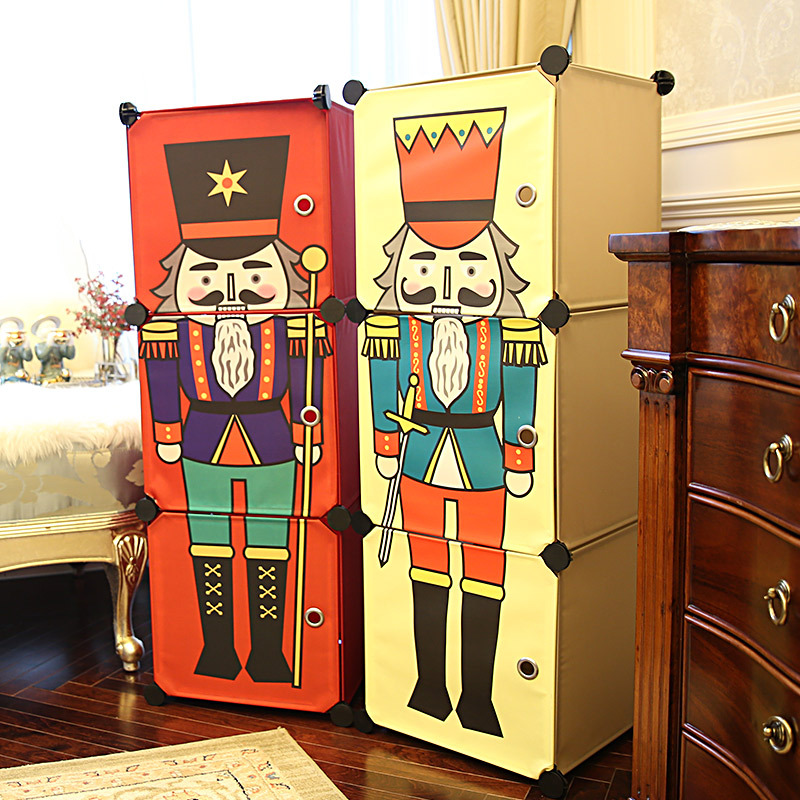 Children's Cartoon Simple Combination Wardrobe Combination Assembly Resin Folding Wardrobe Storage Cabinet  Drawer