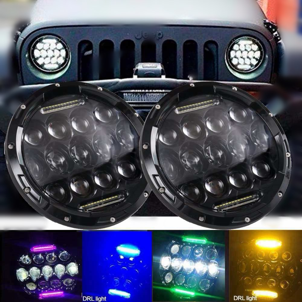 7inch 75W LED Headlight for Jeep Wrangler JK CJ TJ LJ  LED Projector Driving Lamps-White Hi/Lo Beam( multiple colour DRL) 60w 12v 4300k universal cree led headlight with hight power led driving lights for jeep wrangler cj 7 cj 8 replacement kit