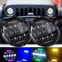 7inch 75W LED Headlight for Jeep Wrangler JK CJ TJ LJ LED Projector Driving Lamps White Hi/Lo Beam( multiple colour DRL)