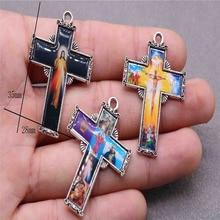 50 stuks van Christus Jezus kruis mededogen Jezus icoon kruis medaille groothandel, verschillende pictogrammen religieuze medaille