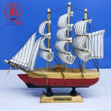 LUCKK 18CM Wooden Model Ships Nautical Home Interior Decoration Sailing Boat Wood Crafts Nordic Room Miniature Scale 1:12 Model цены онлайн