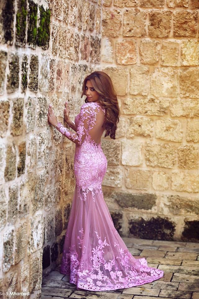 Aliexpress.com : Buy Elegant Pink Lace Mermaid Long Evening Dress ...