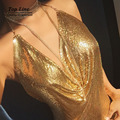 Последние горячие продажи Кендалл Дженнер 'ы 21-летие Наряды 2016 chic sexy dress золото sparkly холтер спинки металлические блестки платья