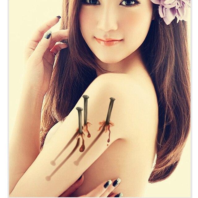 10pcslot 3d fake wounds design women men waterproof temporary tattoo sticker star body art - Halloween Fake Wounds